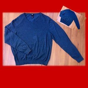 new🍂H&M Gray-BlueHeather 100% Cotton V-Neck - XL